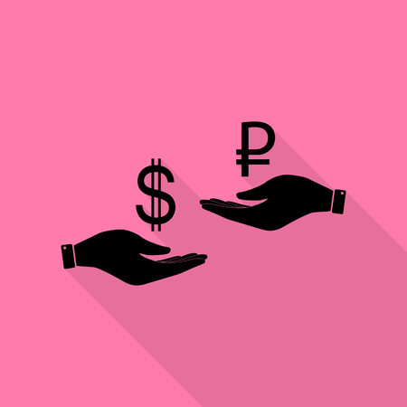 Currency exchange from hand to hand. Dollar and Rouble. Black icon with flat style shadow path on pink background.