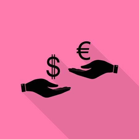 lira: Currency exchange from hand to hand. Dollar adn Euro. Black icon with flat style shadow path on pink background.
