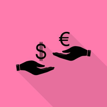 Wisselkantoor van hand tot hand. Dollar adn Euro. Zwart pictogram met vlakke stijl schaduw pad op roze achtergrond.