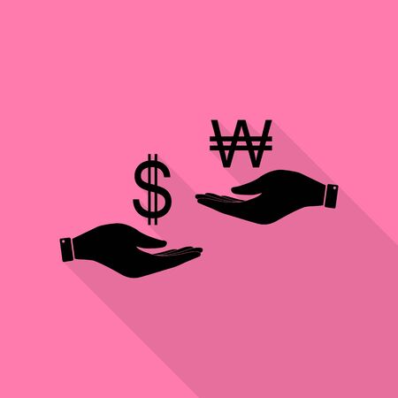 Currency exchange from hand to hand. Dollar and South Korea Won. Black icon with flat style shadow path on pink background. Illustration