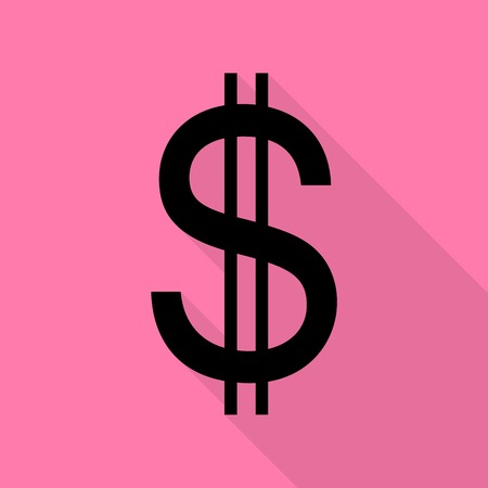 United states Dollar sign. Black icon with flat style shadow path on pink background.