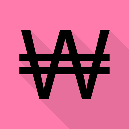 won: Won sign. Black icon with flat style shadow path on pink background.
