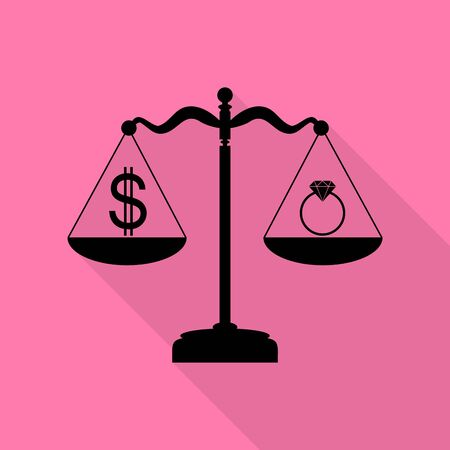 Ring jewelery and dollar symbol on scales. Black icon with flat style shadow path on pink background. Illustration