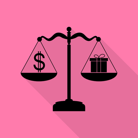 beautifull woman: Gift and dollar symbol on scales. Black icon with flat style shadow path on pink background.