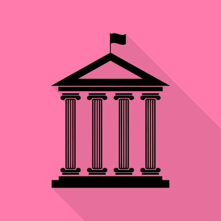 roman pillar: Historical building with flag. Black icon with flat style shadow path on pink background.