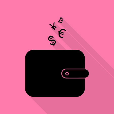 Wallet sign with currency symbols. Black icon with flat style shadow path on pink background. Ilustracja