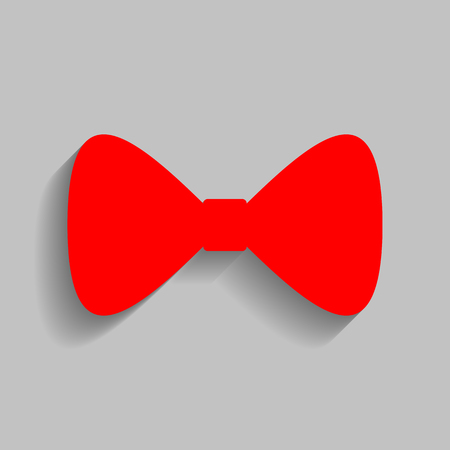 Bow Tie icon. Vector. Red icon with soft shadow on gray background.