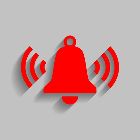 Ringing bell icon. Vector. Red icon with soft shadow on gray background.