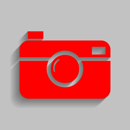 Digital photo camera sign. Vector. Red icon with soft shadow on gray background.