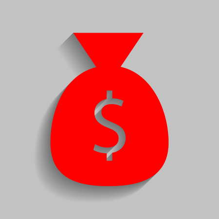Money bag sign illustration. Vector. Red icon with soft shadow on gray background.