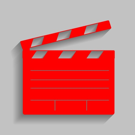 flick: Film clap board cinema sign. Vector. Red icon with soft shadow on gray background.