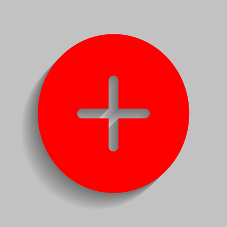 Positive symbol plus sign. Vector. Red icon with soft shadow on gray background.