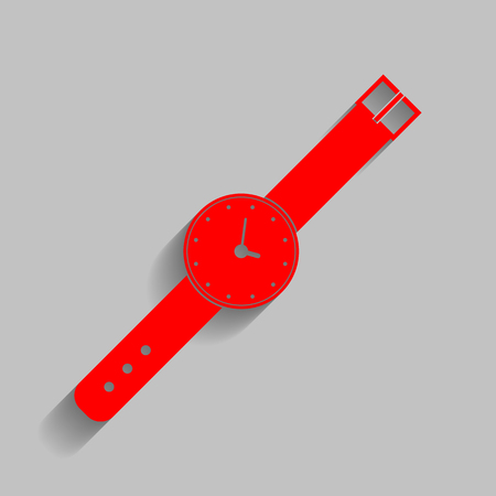 seconds: Watch sign illustration. Vector. Red icon with soft shadow on gray background. Illustration