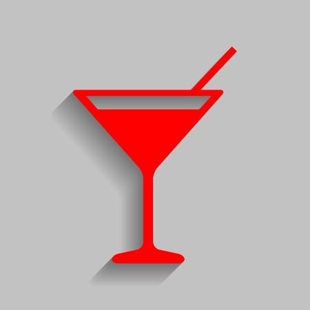 Cocktail sign illustration. Vector. Red icon with soft shadow on gray background.