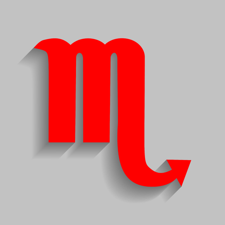 Scorpio sign illustration. Vector. Red icon with soft shadow on gray background.