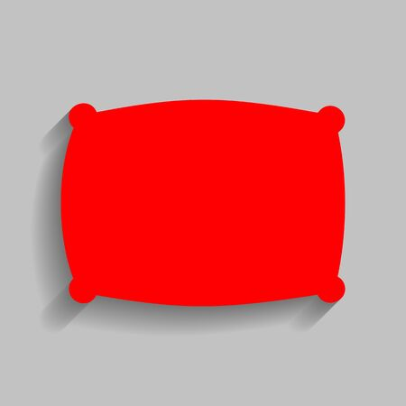 spongy: Pillow sign illustration. Vector. Red icon with soft shadow on gray background.