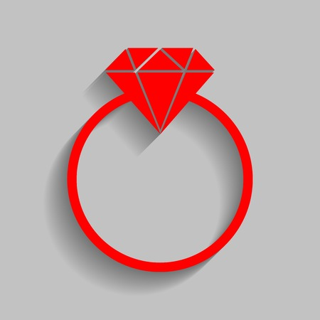 Diamond sign illustration. Vector. Red icon with soft shadow on gray background.