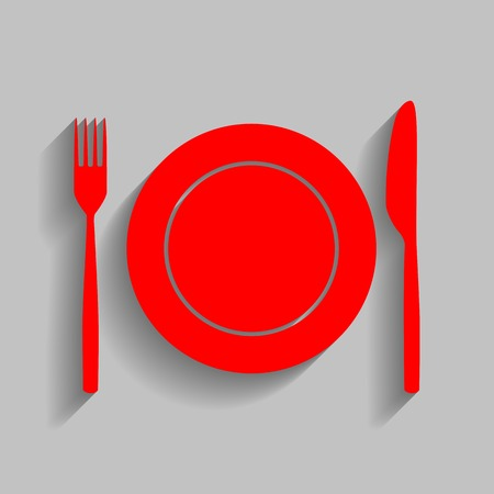Fork, tape and Knife sign Red icon with soft shadow on gray background. Illustration