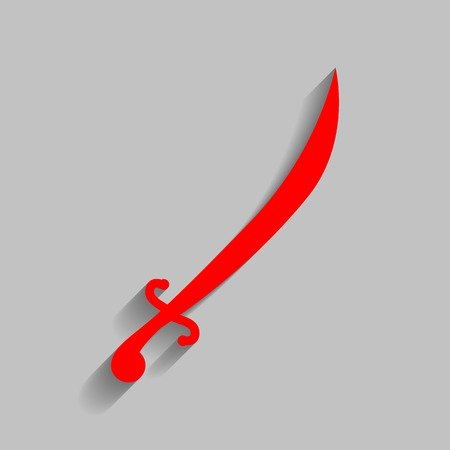 Sword sign illustration. Vector. Red icon with soft shadow on gray background.