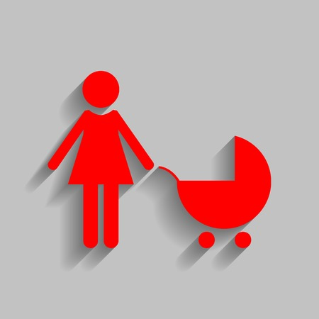 Family sign illustration. Red icon with soft shadow on gray background. Illustration