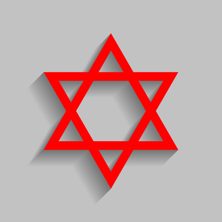 Shield Magen David Star. Symbol of Israel Red icon with soft shadow on gray background.