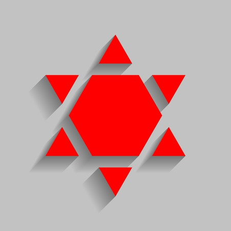 Shield Magen David Star Inverse. Symbol of Israel inverted Red icon with soft shadow on gray background.