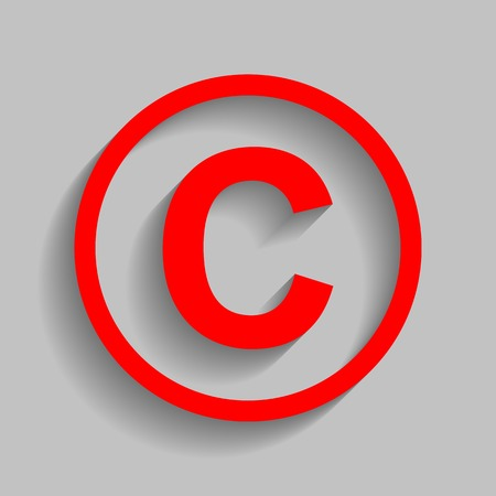 Copyright sign illustration Red icon with soft shadow on gray background.