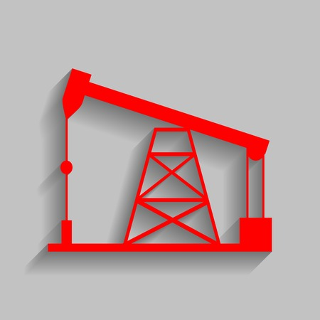 sea pollution: Oil drilling rig sign. Vector. Red icon with soft shadow on gray background. Illustration