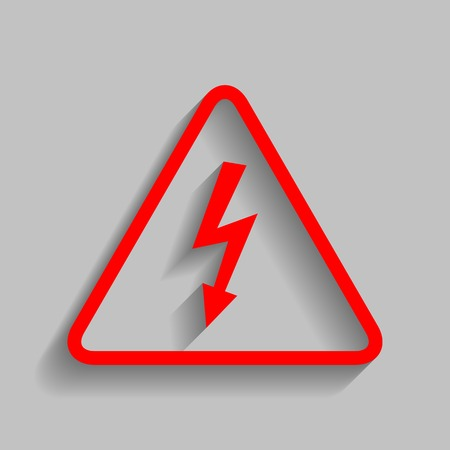 High voltage danger sign. Vector. Red icon with soft shadow on gray background.