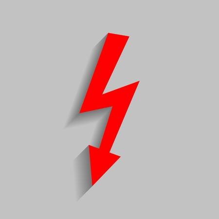 high voltage: High voltage danger sign. Vector. Red icon with soft shadow on gray background.