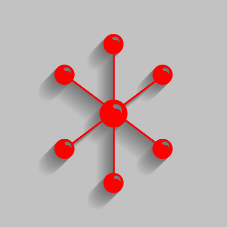 Molecule sign illustration. Vector. Red icon with soft shadow on gray background.
