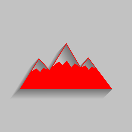 snow capped: Mountain sign illustration. Red icon with soft shadow on gray background.