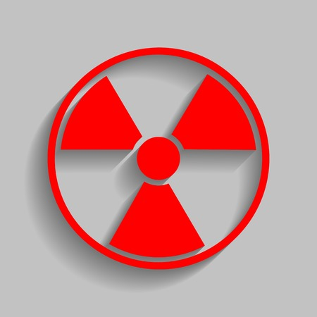 Radiation Round sign. Red icon with soft shadow on gray background.