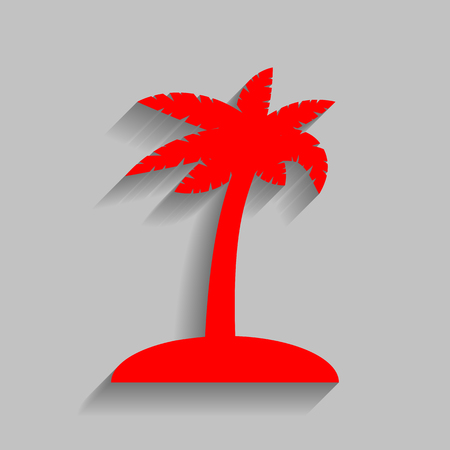 Coconut palm tree sign. Red icon with soft shadow on gray background.