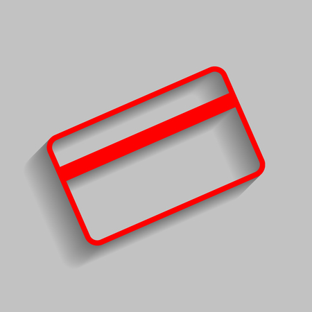 paying: Credit card symbol for download. Vector. Red icon with soft shadow on gray background.