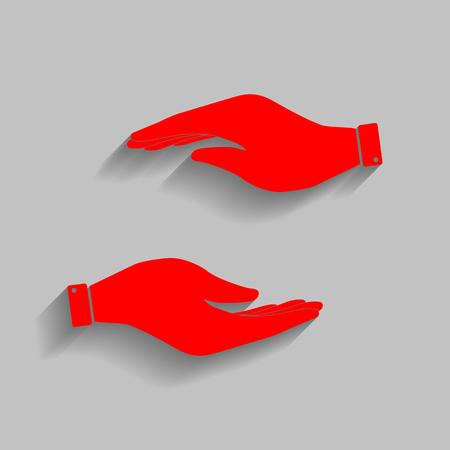 Hand sign illustration Red icon with soft shadow on gray background.