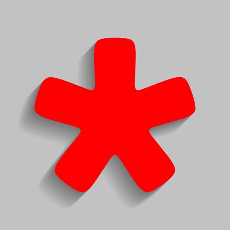 Asterisk star sign. Red icon with soft shadow on gray background. Иллюстрация