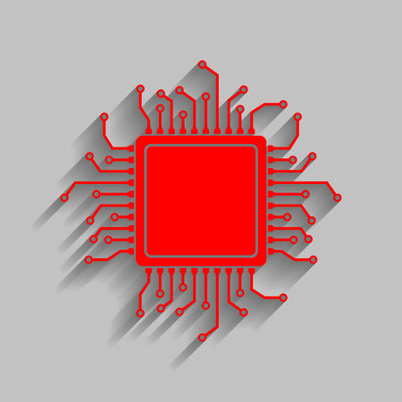 microcircuit: CPU Microprocessor illustration. Red icon with soft shadow on gray background. Illustration