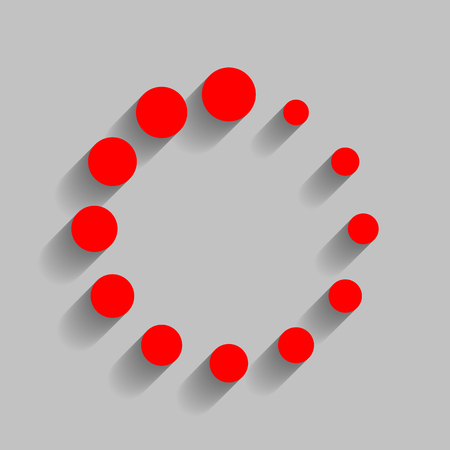 Circular loading sign. Red icon with soft shadow on gray background.