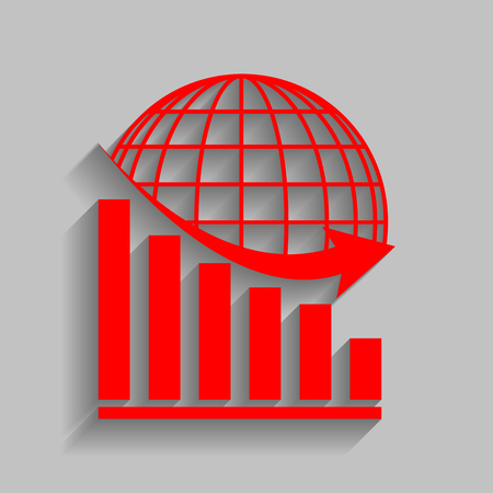 Declining graph with earth. Red icon with soft shadow on gray background. Illustration