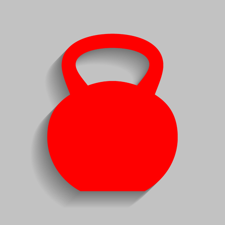 Fitness Dumbbell sign. Red icon with soft shadow on gray background.