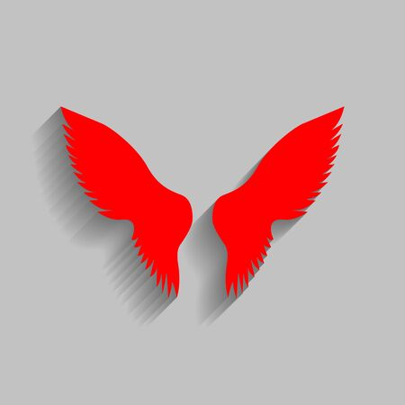 heavenly: Wings sign illustration. Vector. Red icon with soft shadow on gray background.