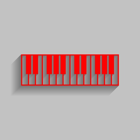 Piano Keyboard sign. Vector. Red icon with soft shadow on gray background.