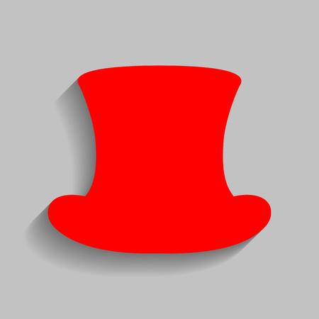 Top-Hut-Zeichen. Vektor. Rote Ikone mit weichem Schatten auf grauem Hintergrund.