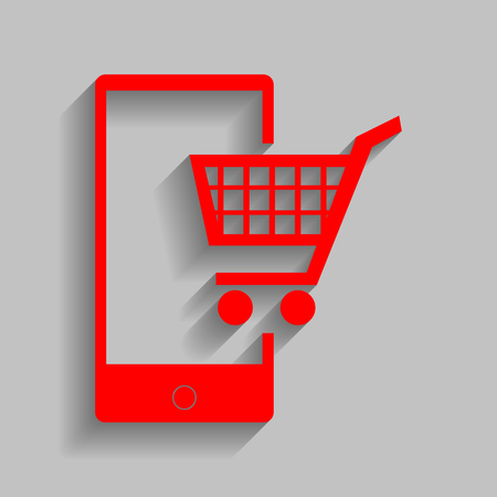 retail equipment: Shopping on smart phone sign. Vector. Red icon with soft shadow on gray background.