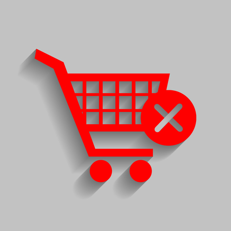 Shopping Cart with delete sign. Vector. Red icon with soft shadow on gray background.