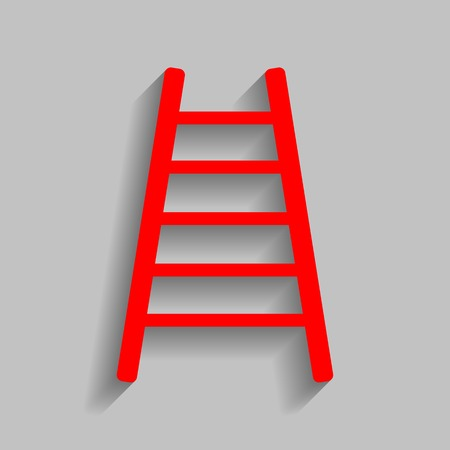 Ladder sign illustration. Vector. Red icon with soft shadow on gray background. Illustration