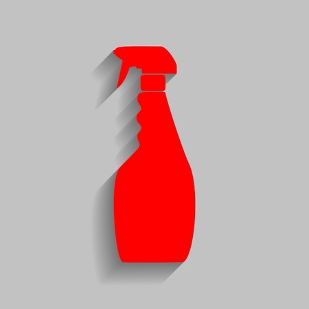 desinfectante: Plastic bottle for cleaning. Red icon with soft shadow on gray background.