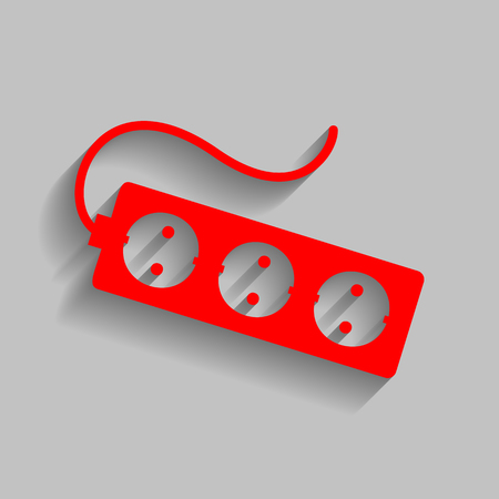 Electric extension plug sign. Red icon with soft shadow on gray background. Illustration