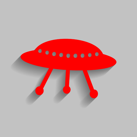 UFO simple sign. Red icon with soft shadow on gray background.